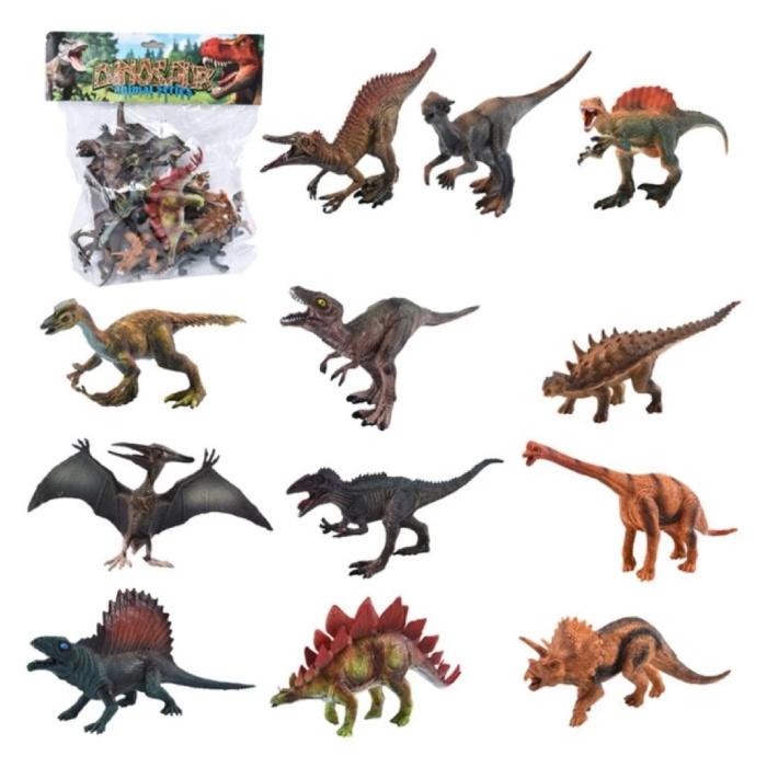 Dinosaur Playset 12 Pieces - Lifelike Dino Toy Figures for Kids