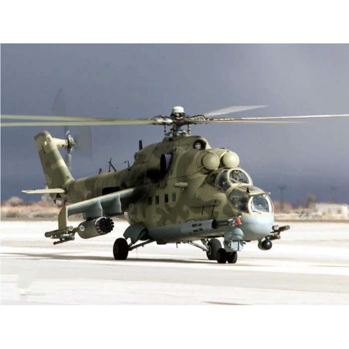 1:48 Scale Mil Mi-24P Hind Combat Helicopter - Construction Kit Russian Army Helicopter Plastic Hobby DIY Model 80311