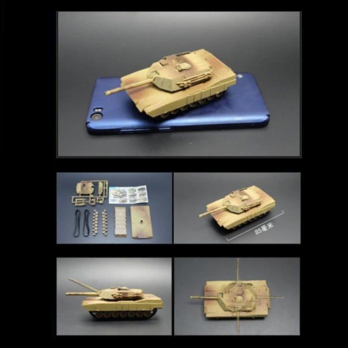 M1A2 Abrams Build Kit Modèle à l'échelle 1:72 - Modèle de bricolage en plastique pour réservoir de l'armée américaine