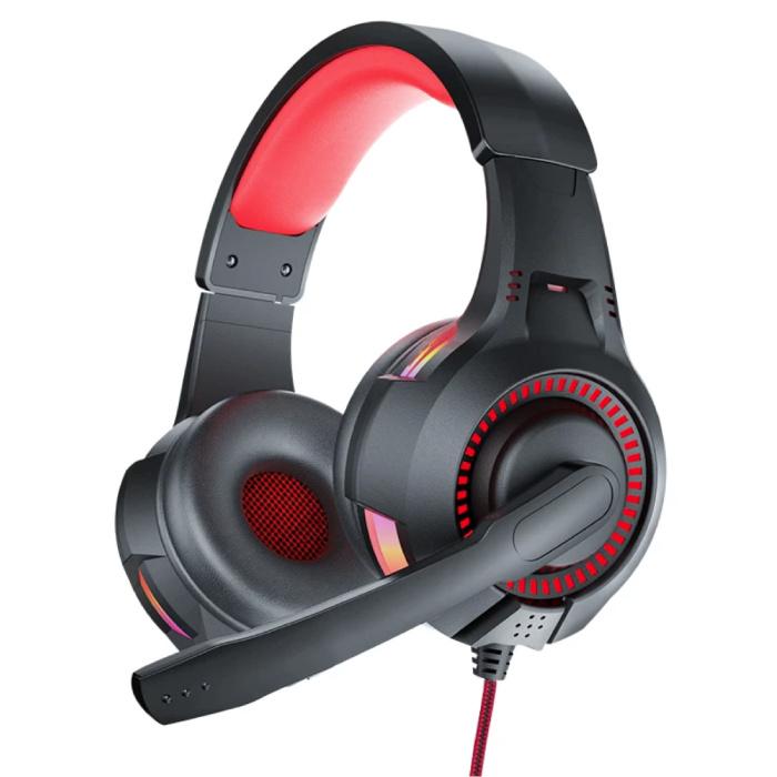D5 Gaming Headset 3.5mm AUX Aansluiting - Comfortabele Koptelefoon met Microfoon Rood
