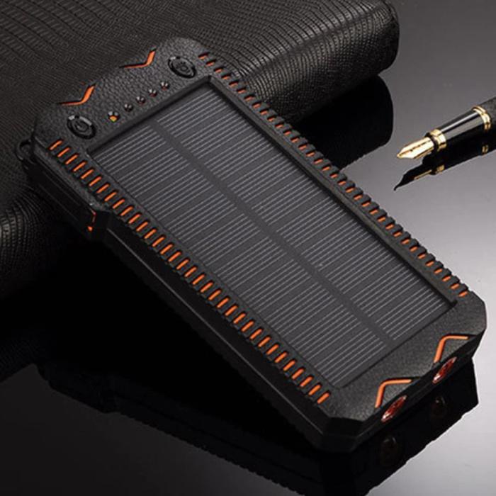 Banque d'énergie solaire avec 2 ports 80.000mAh - Lampe de poche et allume-cigare intégrés - Chargeur de batterie d'urgence externe Sun Orange