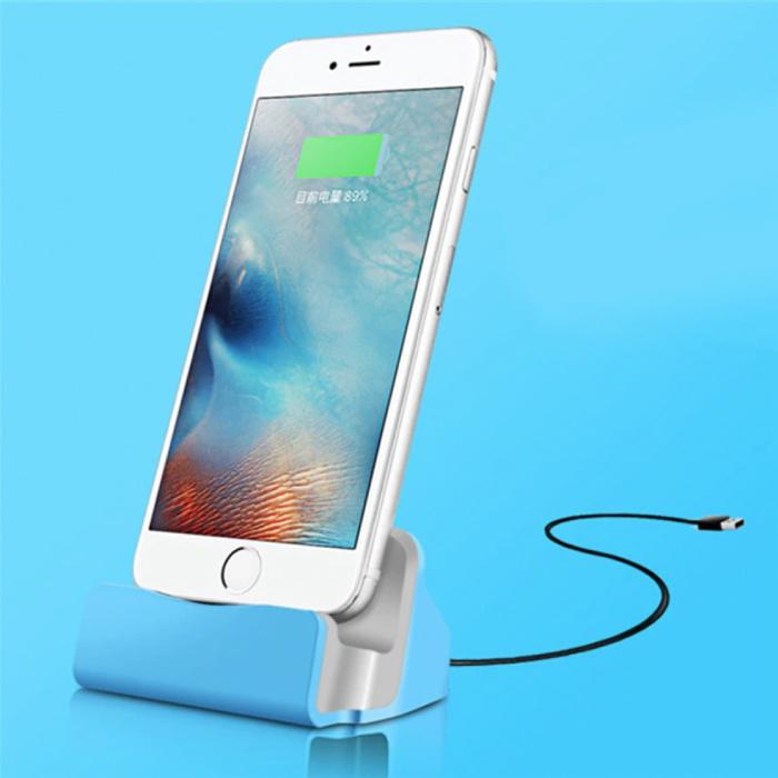 5W Oplader Standaard voor iPhone Lightning 8-pin - Telefoon Houder Fast Charging Blauw