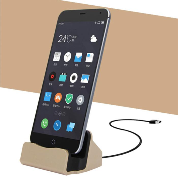 5W Oplader Standaard voor Micro-USB - Telefoon Houder Fast Charging Goud