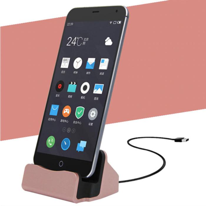 5W Oplader Standaard voor Micro-USB - Telefoon Houder Fast Charging Roze