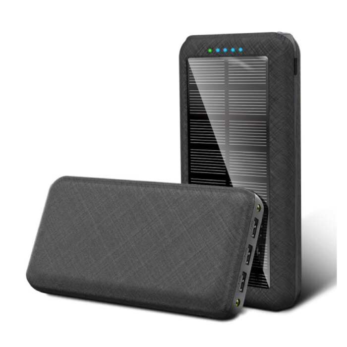 Banque d'alimentation solaire sans fil Qi avec 4 ports 80.000mAh - Lampe de poche intégrée - Chargeur de batterie d'urgence externe Sun Black - Copy