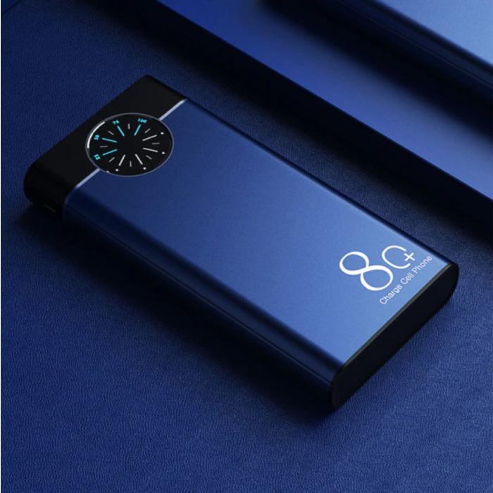 Banque d'alimentation 80.000mAh avec 2 ports de sortie/2 entrées - Lampe de poche intégrée - Chargeur de batterie d'urgence externe Bleu