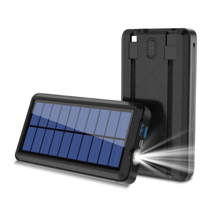 Banque d'alimentation solaire sans fil Qi avec 2 ports 80.000mAh - Câbles Micro-USB/USB-C/Lightning - Lampe de poche intégrée - Chargeur de batterie d'urgence externe Sun Black