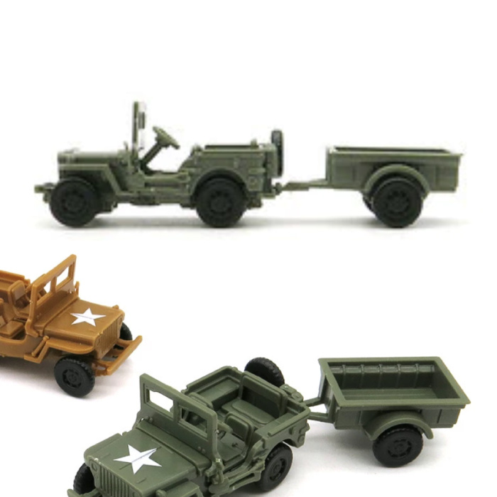 1:72 Willys MB Jeep Construction Kit - US Army Wagon Plastic Hobby DIY Model Green