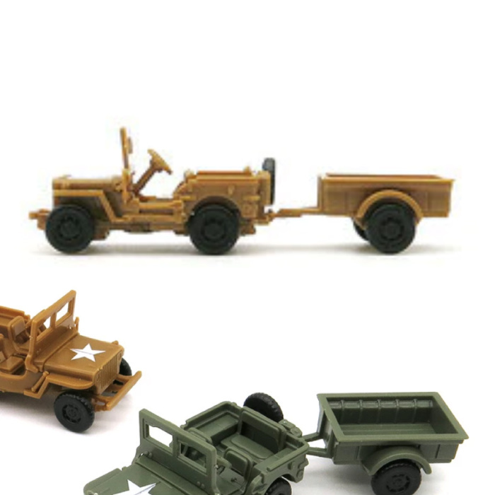 1:72 Willys MB Jeep Construction Kit - US Army Wagon Plastic Hobby DIY Model Brown