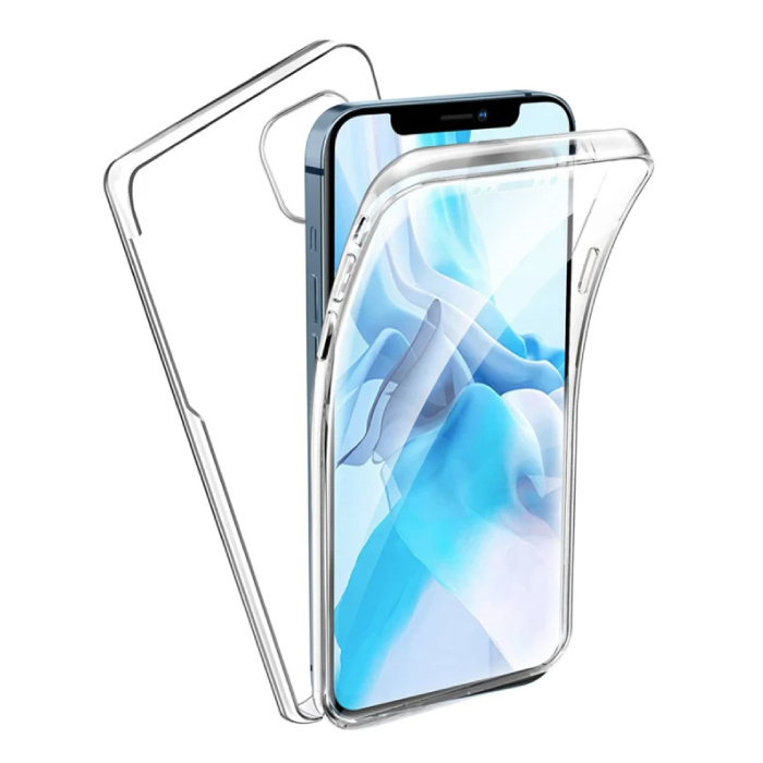 Coque en silicone TPU transparente à 360 ° pour iPhone 13 Pro + Protecteur d'écran PET