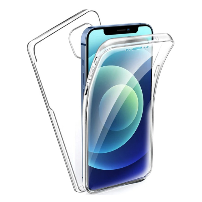 iPhone 13 Mini Full Body 360° Transparent TPU Silicone Case + PET Screen Protector