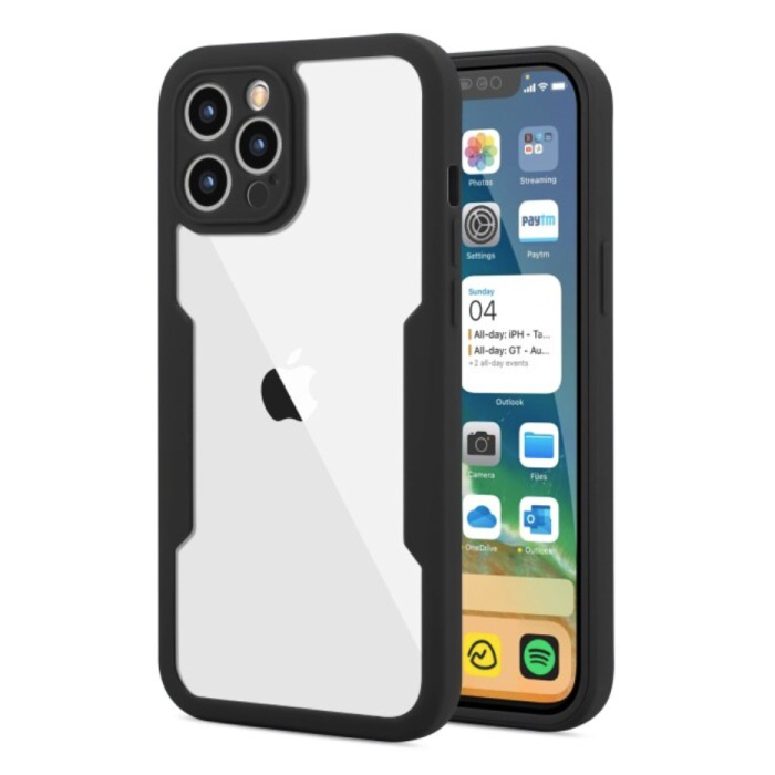 iPhone 13 Pro Max 360° Full Cover - Full Body Case Case + Screen Protector Black