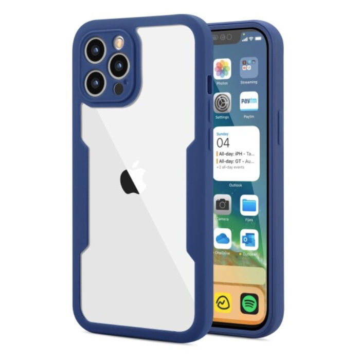 iPhone 13 Pro Max 360° Full Cover - Full Body Case Cover + Screen Protector Blue
