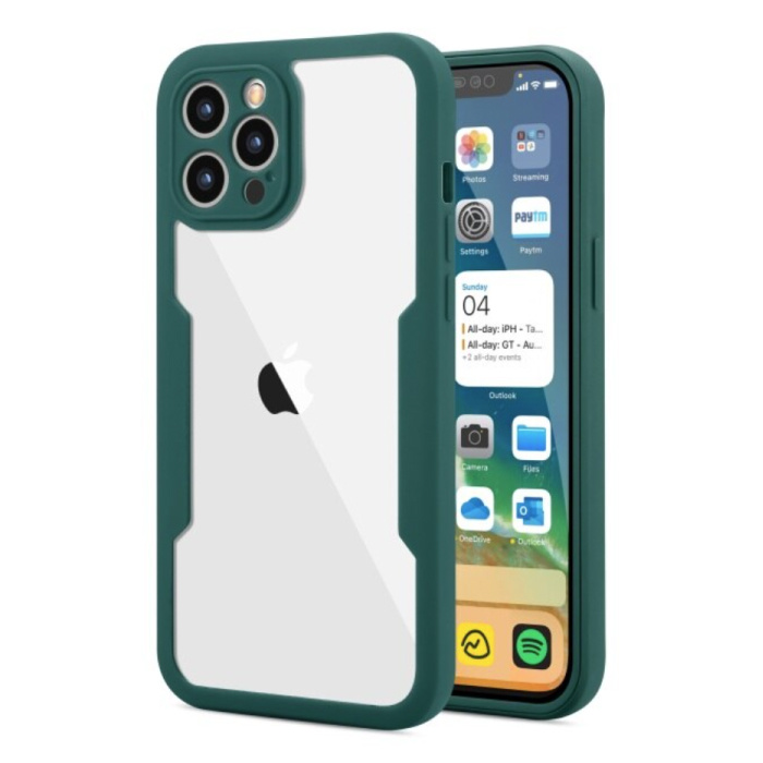 iPhone 13 Pro 360° Full Cover - Full Body Case Case + Screen Protector Green