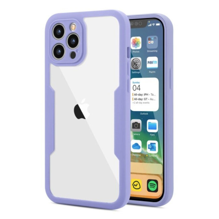 iPhone 13 Pro 360° Full Cover - Full Body Case Case + Screen Protector Purple