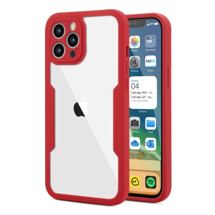 iPhone 13 Pro 360° Full Cover - Full Body Case Case + Screen Protector Red