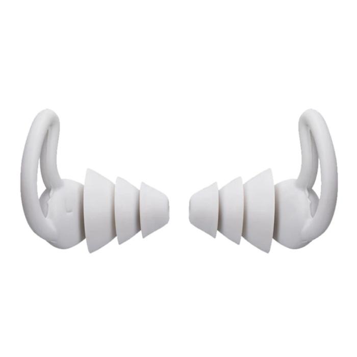 Bouchons d'oreilles en silicone 3 couches - Bouchons d'oreilles Bouchons d'oreilles pour dormir Voyage Natation - Isolation anti-bruit douce - Blanc