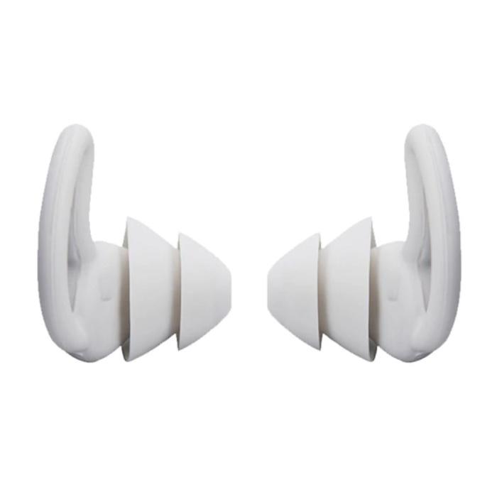 Bouchons d'oreilles en silicone 2 couches - Bouchons d'oreilles Bouchons d'oreilles pour dormir Voyage Natation - Isolation anti-bruit douce - Blanc