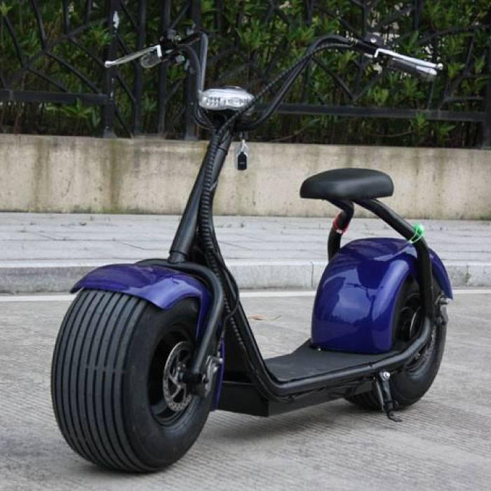 """Scooter électrique City Coco Smart E Harley Pro - 18 """"- 1000W - 12Ah - Bleu"""