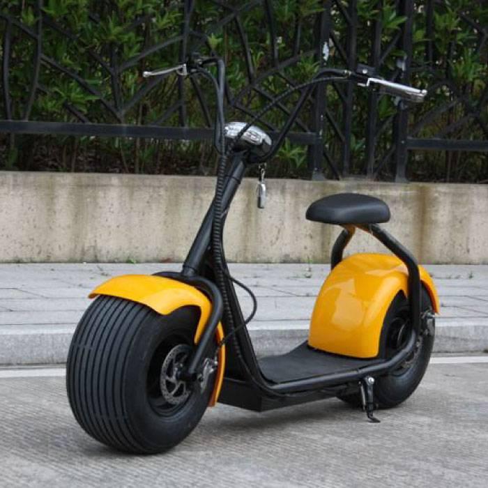"""Ville Coco Smart électrique e Scooter Pro Harley - 18"""" - 1000W - 12Ah - Jaune"""