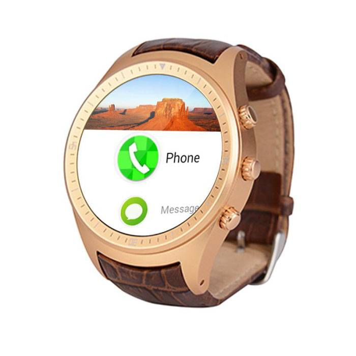 Originele K18 Plus Smartwatch Smartphone Fitness Sport Activity Tracker Horloge OLED Android iPhone Samsung Huawei Goud