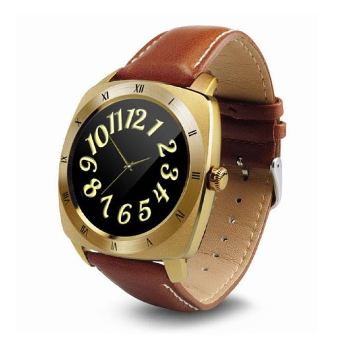Originele DM88 Smartwatch Smartphone Horloge OLED Android iOS Goud Leer