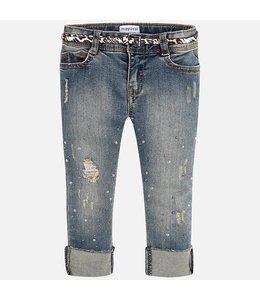 Mayoral Jeans met leopard riem - Slim Fit