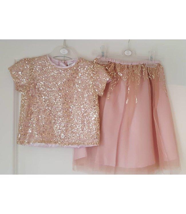 Top & rok glitter pink