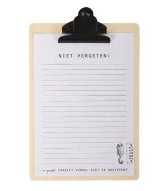 Zusss Klembord Niet Vergeten Notitieblok