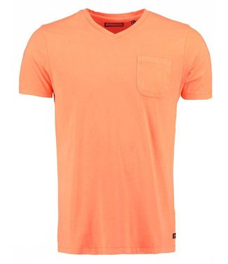 Petrol Industries T-shirt v-neck oranje m-ss18-tsv710