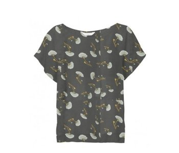 Yaya WOVEN TOP SMALL FLOWER PRINT ALMOST BLACK DESSIN 012627-815