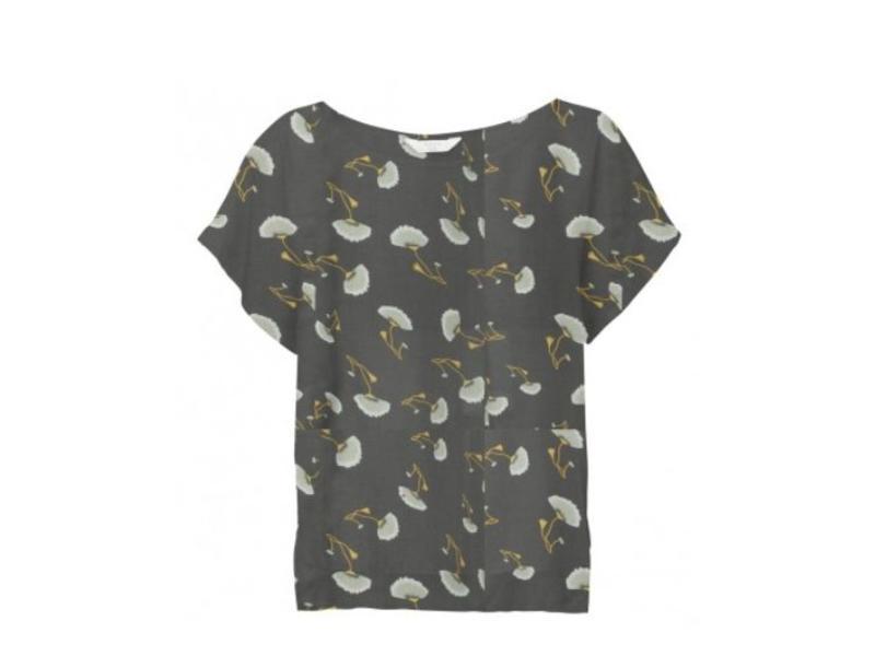 Yaya WOVEN TOP SMALL FLOWER PRINT ALMOST BLACK DESSIN 012627-815