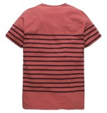 PME Legend Short sleeve r-neck Printed Stripe Mineral Red PTSS184535