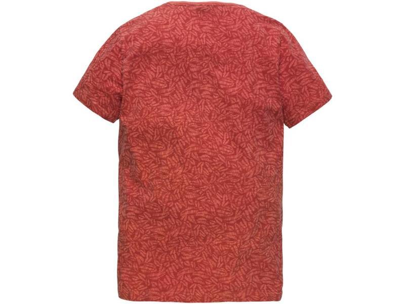 PME Legend Short sleeve v-neck Slub Jersey Mineral Red PTSS184533