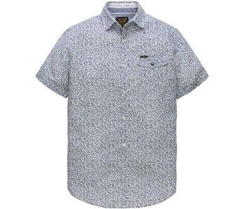 PME Legend Short Sleeve Shirt Linen Print Gary Bright White PSIS184211