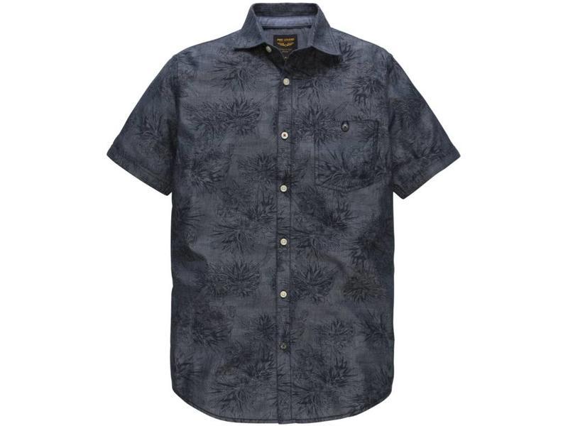 PME Legend Short Sleeve Shirt Chambray Print F: Dark Denim PSIS184205