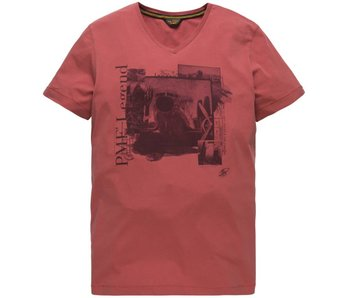PME Legend Short sleeve r-neck Play LW T-Shirt Mineral Red PTSS184531