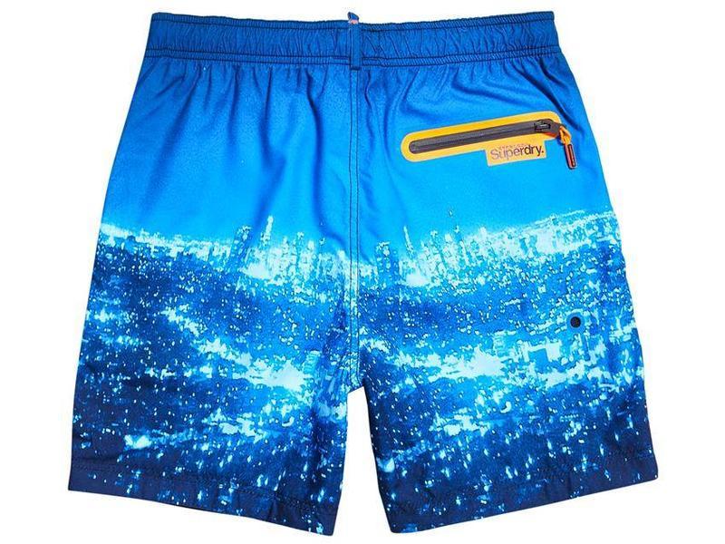 Superdry Premium neo swim short blauw M30000PQF3