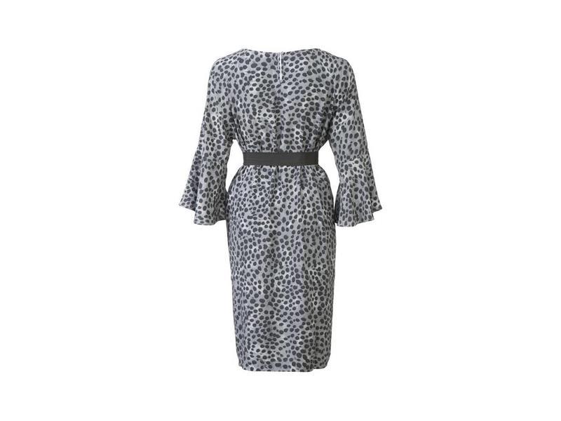 Yaya LEOPARD DRESS 3/4 TROMPET SLV MUD GREEN DESSIN 081722-813