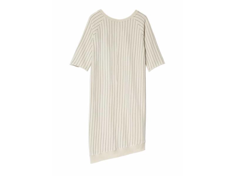 10Days Asymmetrical dress pinstripe off white 20-307-8103