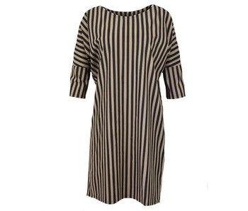 Penn & Ink Dress big stripe bruin W18N342D