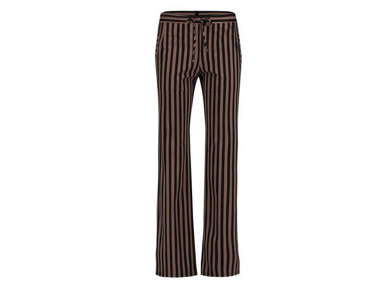 Penn & Ink Pant stripe zwart/bruin W18N331