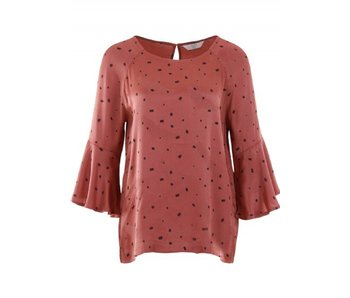 Yaya WOVEN TOP RUFFLE SLEEVE DOT PRINT WOODEN RED DESSIN 190135-821