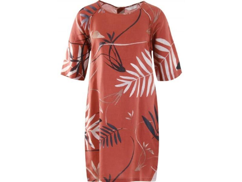 Yaya WOVEN DRESS BIRD PRINT WOODEN RED DESSIN 180148-821