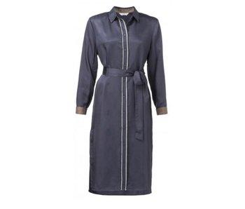Yaya WOVEN BLOUSE DRESS W TAPE ANTRACITE BLUE 180133-821