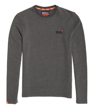 Superdry Orange label texture l/s tee grijs M60001MR