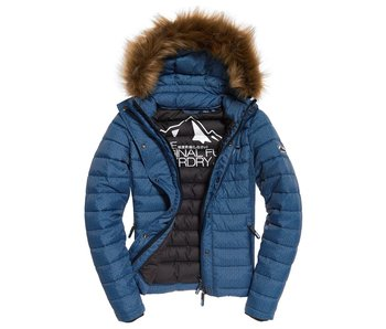 Superdry Fuji slim double ziphood blauw G50004LR