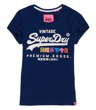 Superdry Premium goods sport entry tee blauw G10006SR
