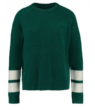 Knitted sweater white band groen 1802034207