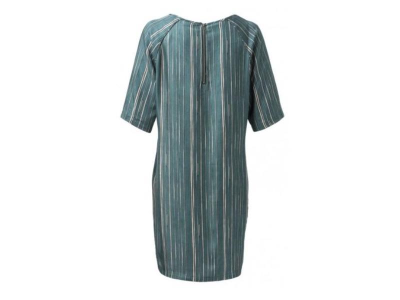 Yaya WOVEN DRESS STRIPE PRINT JADE GREEN DESSIN 180139-822